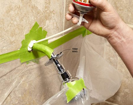 <b>Tighten it up</b></br> Fix a wobbly shower head—or any wobbly pipe—with a few shots of expanding foam. The foam encases the pipe in the wall and eliminates the wobble.