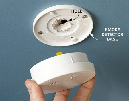 <b>Cover ceiling holes and safety</b></br> <p>Instead of patching a hole in the ceiling, just cover it with a smoke detector. No more hole, and added safety to boot!</p>
