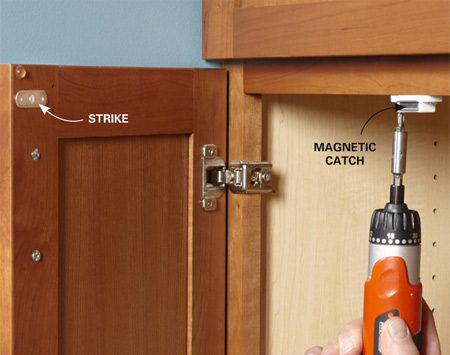 <b>Keep cabinet doors closed with a magnetic catch</b></br> <p>Install a magnetic catch to keep your cabinet doors closed. It's easier than installing a roller-style catch.</p>
