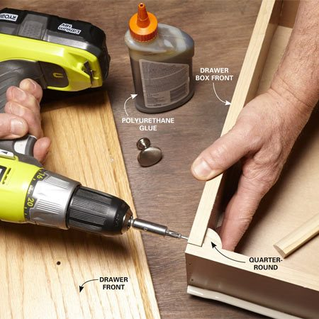 <b>Quick drawer fix</b></br> <p>Use quarter-round as a corner block to repair broken drawers quickly.</p>