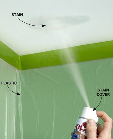 <b>Spray on a little Upshot to remove ceiling stains</b></br> The spray bottle is designed by KILZ to be sprayed straight up.