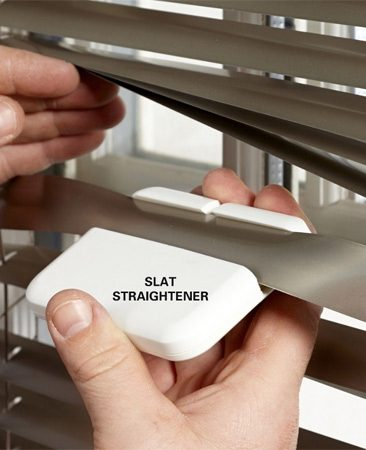 <b>Unmangle mangled mini-blinds</b></br> Just slide the mini-blind slat straightener over the damaged slat and squeeze.
