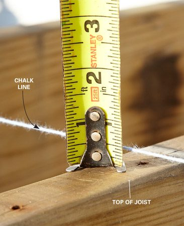 Measuring a joist sag with a string-line and tape measure