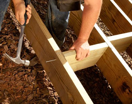 Nailing wood blocks between joists