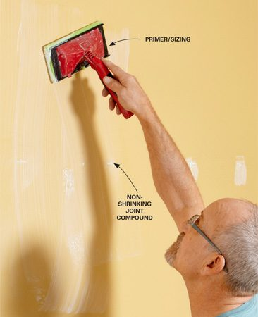 "<b>Use a ""wall size"" primer/sizing product</b></br> Using wall size will help the paper adhere to the wall and reduce the chance that the paper will shrink. It also makes it easier to remove the paper when the time comes."