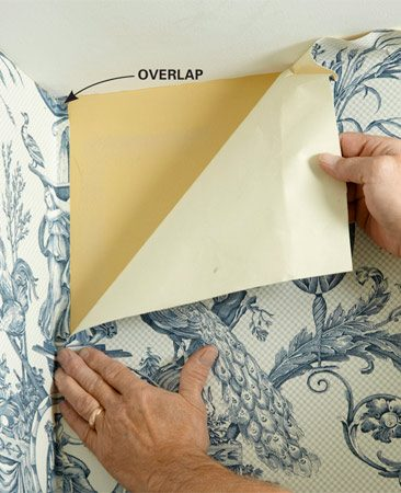 <b>Overlap to ensure the first run is plumb</b></br> When starting from an inside corner, allow at least 1/8 in. overlap on wallpaper from the adjacent wall. This lets you hang the paper plumb, regardless of how plumb the corner is.