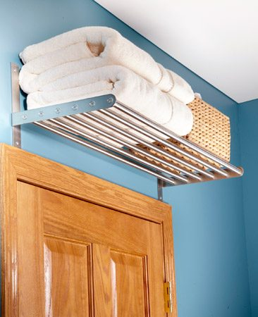 <b>Look up for easy storage ideas </b></br> <p>The space above a doorway is an overlooked storage bonanza! It's the perfect spot for a cookbook cubby in the kitchen or a towel shelf in the bathroom. Consider adding a shelf or cubby over the doorways in your home office, laundry room and bedrooms too.</p>   <p>Elisa Bernick<br> Associate Editor</p>
