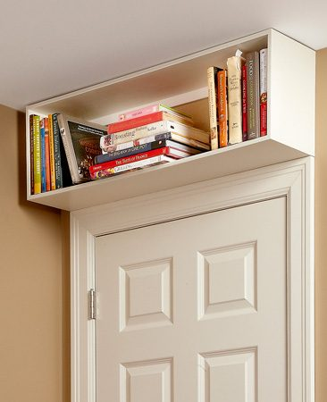 <b>Overhead bookcase</b></br> You'll be surprised how many books, knickknacks and other items you can find room for in these valuable unused spaces.