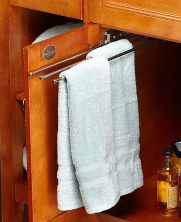 <b>Get better access to hidden space</b></br> <p>Pullout towel racks are typically meant for kitchens, but they're also perfect for cramped bathrooms. They keep damp hand towels and washcloths off the counter so they can dry out of the way. You can find pullout towel racks at discount stores and online retailers.</p>  <p>Travis Larson<br> Senior Editor</p>