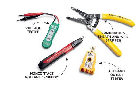 <b>Four key wiring tools</b><br/>Buy a voltage tester, a wire stripper, a noncontact voltage sniffer and a GFCI and outlet tester for wiring switches and outlets.