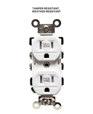 <b>Tamper-resistant, weather-resistant outlet</b><br/>Weather-resistant outlets are required in certain outdoor locations.