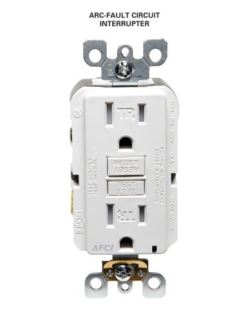 <b>Arc-fault circuit interrupter</b><br/>Arc-fault interrupters are required in most living areas.