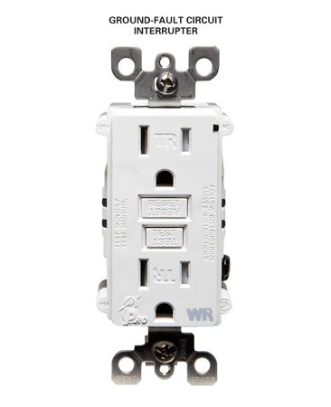 <b>Ground-fault circuit interrupter</b><br/>Ground-fault circuit interrupters are required in kitchens, bathrooms, and other damp areas.