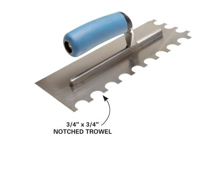 <b>Trowel for extra-large tiles</b></br> Use a 3/4-in. x 3/4-in. trowel for tiles larger than 16-in. square.
