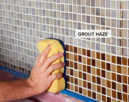 <b>Removing grout haze</b></br> <p>It's hard to get the last bit of grout haze off using a grout sponge. After the grout dries, you usually have to come back and polish off the remaining cloudy layer with a rag. But if you finish your grout cleanup with a microfiber sponge, you'll end up with a job so clean you may not have to do anything more.</p>  <p>Start your cleanup with the plain side of the sponge after the grout firms up. If you need more information on this process, check out these <a href='http://www.familyhandyman.com/DIY-Projects/Tile/Tile-Techniques/grouting-tips-and-techniques/View-All' target='new'>grouting tips and techniques</a>. Then when the joints are nicely shaped and most of the grout is off the face of the tile, switch to the microfiber side of the sponge.</p>