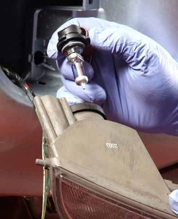Fog light bulbs are usually accessed from the rear.