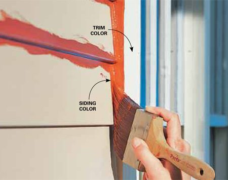 <b>Trim-painting shortcut</b></br> If you have lap siding to paint, you can save a lot of time by painting the edges of window and door casings the same color as the siding. Most pros do it this way, and the beauty is, nobody will ever notice this little shortcut. Caulk the joint between the casing and the siding as usual. Then when you paint the siding, just extend the paint onto the edge of the casing instead of meticulously cutting in. If you get paint on the face of the casing, wipe it off with a wet rag to create a neat edge.