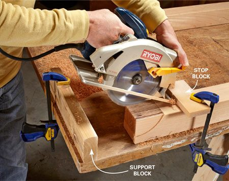 <b>Then make lots of plunge cuts</b></br> Pivot the saw downward while holding the shoe against the stop block. A support block behind the saw prevents you from plunging too deep.