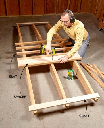 <b>Photo 4: Screw slats to the arches</b></br> Align the arches by installing a slat at the very center and temporary cleats near the ends. A spacer with a stop block provides perfect spacing and overhang for the slats.