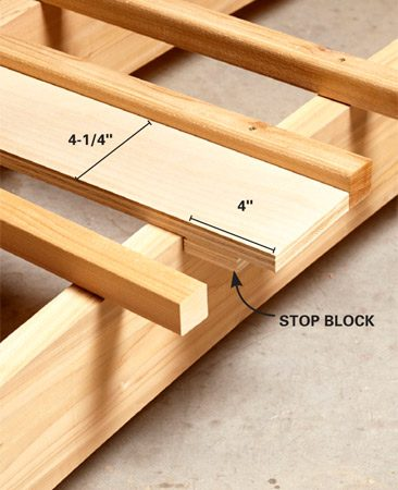 <b>Photo 4: Detail</b></br> A spacer with a stop block provides perfect spacing and overhang for the slats.