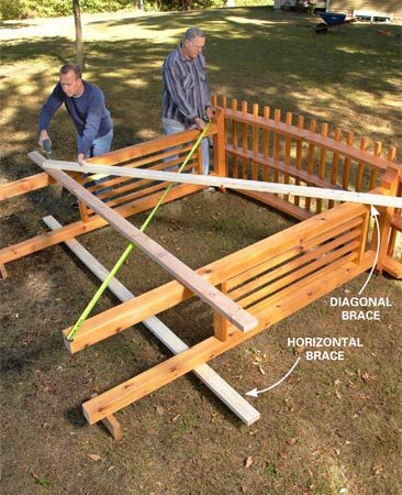 <b>Photo 5: Assemble it, square it, brace it</b></br> Screw braces to the posts to hold them the correct distance apart. Then screw the arches to the beams. Take diagonal measurements to square up the arbor and add a diagonal brace to hold it square.