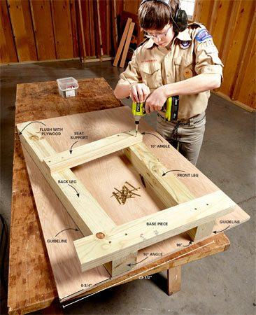 <b>Photo 1: Screw together the leg units</b></br> <p>Screw the parts together with two 3-in. deck screws at each joint. Draw guidelines alongside the 4x4s to use for the other set of legs. Center the base piece and make the seat support flush with the top of the front 4x4 and square to the back one. Flip the assembly over and screw the second base piece and seat support onto the other side of the legs.</p>