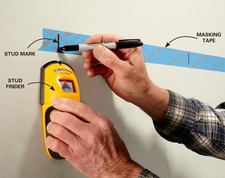 """<b>Don't make your marks directly on the paint</b></br> <p>Locate studs and mark their locations  without making permanent marks on painted walls. Make your marks on """"delicate  duty"""" masking tape instead.</p>"""