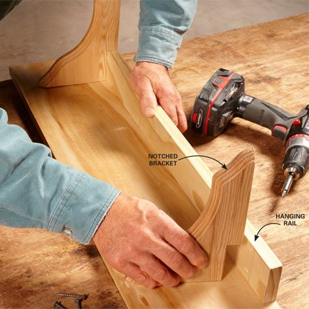 <b>Add versatility</b></br> Firmly attach the rail to the shelf, then screw it to the studs.