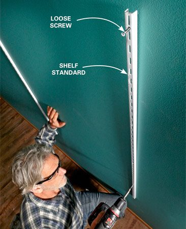 Let nature take its course. Gravity makes<br> shelf standards plumb themselves.