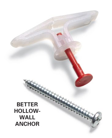 <b>Better hollow-wall anchors</b></br> We prefer this kind of hollow-wall anchor. They're easy to use and they stay put.