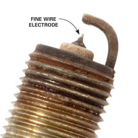"How could a car run with such a <br> ""worn down"" spark plug? <br> Simple: It's not worn down, <br> but a fine-wire iridium spark plug."