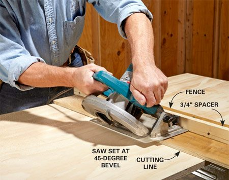 <b>Photo 2: Cut the beveled edges</b></br> Screw a spacer to the fence of your jig and line up the edge with your cutting line just like you would for a standard cut. Then make the long 45-degree cuts.
