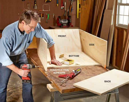 <b>Photo 3: Build the box</b></br> Secure the panels to one another using construction adhesive and 2-in. screws. Drill pilot holes to avoid splintering the edges of the plywood. Flip the cart upside down and install the three bottom braces (E).