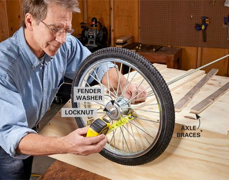 <b>Photo 4: Install the wheel assembly</b></br> Install a washer, a wheel, another washer and a locknut on one end of the threaded rod. Measure the overhang required by the wheel assembly, add that length to the other end, then cut the rod to length. Install the axle braces and cover.