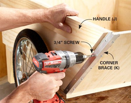 """<b>Photo 6: Strengthen the corners</b></br> <p>Cut aluminum angle stock to length, then drill holes and  countersink """"dimples"""" for the screw heads. Install the corner braces using  construction adhesive and screws. </p>"""