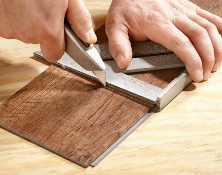 <b>Easy to cut.</b></br> <p>The real beauty of this flooring is that it's super easy to cut. All you have to do is score it with a utility knife and snap it off. You can make curved cuts with a pair of aviation snips. You won't have noisy saws, caustic sawdust to inhale or a need to run back and forth to your cut station. It really is a dream to work with.</p>