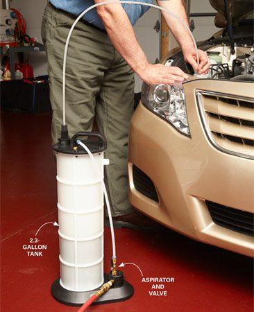 <b>Way easier than bleeding or draining fluids</b><br/><p>Compressed air flows through a venturi aspirator to create a vacuum that sucks liquid into a tank.</p>