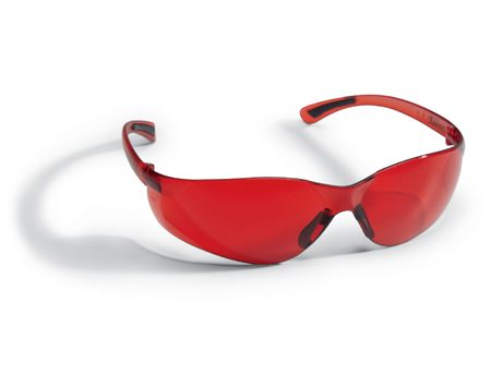 Special red laser light glasses for use with laser levels.