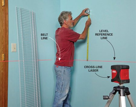 Using a laser level to project a reference line to measure from.