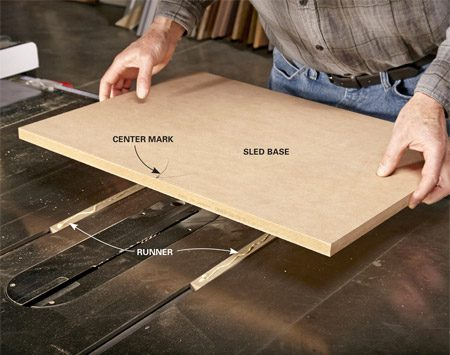 <b>Photo 1: Mount the base on the runners</b></br> <p>Mark the center of the base. Add a thin line of glue to the runners and rest the base on the strips, aligning the center mark with the saw blade. Keep the runners and the miter base flush with the back of the saw table.</p>