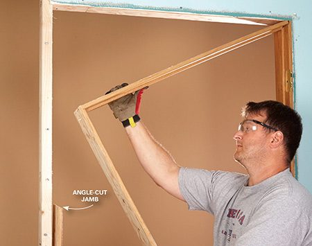 Cutting a door jamb and pulling it out when removing a wall.