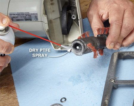 <b>Choose dry lube for dusty situations</b></br> <p>Dusty and dirty conditions call for a lube that isn't tacky. Dry PTFE is a good choice for this vacuum cleaner. It dries tack-free and bonds well to surfaces, so the spinning parts won't throw off lubricant.</p>