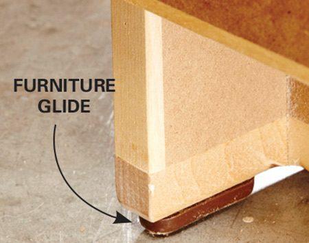 <b>Movable but solid</b></br> Hard plastic furniture glides slide across floors.