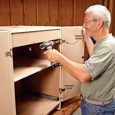 """<b>Photo 1: Build the cabinet</b></br> <p>Assemble the cabinet box, and then install the drawer slides and doors. """"Wrap"""" style hinges make the doors easy to hang and adjust.</p>"""