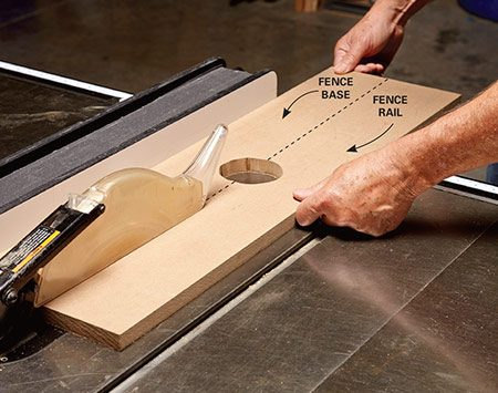<b>Photo 6: Make two fence parts at once</b></br> <p>Cut a hole in a plank of MDF, then cut the plank in half to make two perfectly matching parts: the base and the rail. When the fence is assembled, the cutouts form an opening for the router bit.</p>