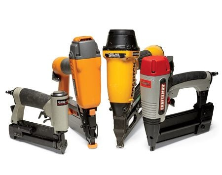 <b>The guns</b></br> From left to right: 23-gauge pin nailer, 16-gauge finish nailer, 15-gauge finish nailer and 18-gauge brad nailer.
