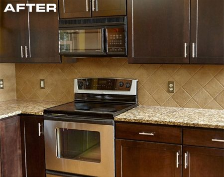 <p>The new color and appearance change the entire<br/> look of the kitchen.</p>