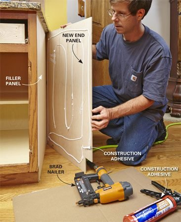<b>Photo 2: Install the end panels</b><br/><p>If the face frame protrudes past the side of the cabinet, add a filler panel to bring them flush. Then cut the end panels to fit and attach them with construction adhesive and brads.</p>