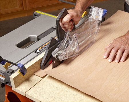 You can also cut veneer on a table saw using a<br/> simple jig.