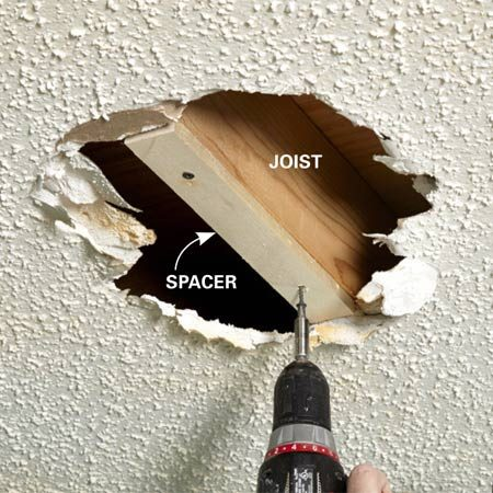 <b>Photo 1: Shim out exposed joists</b></br> If you have a hole in the ceiling, hold a straightedge across it, measure to the framing and cut spacers to that thickness. Screw a spacer to the joist or truss to create a flush surface for the new drywall.